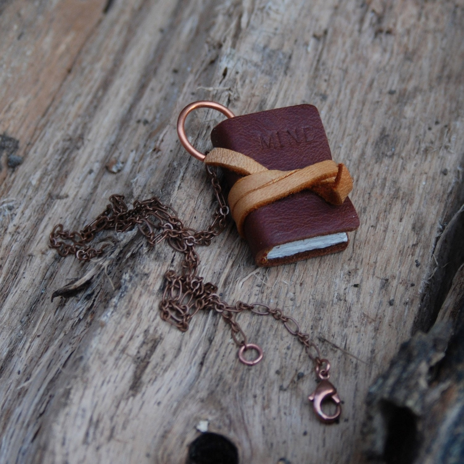 Book Necklace: Large, classic brown, vintage leather, personal and tied.