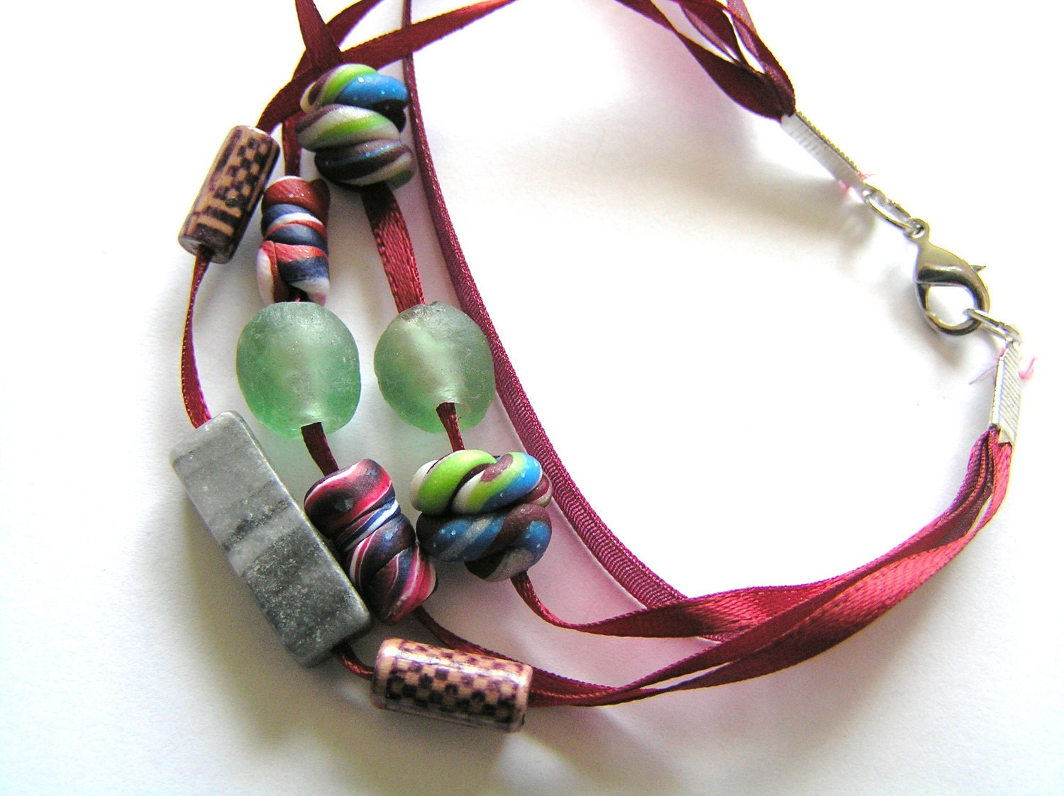 Maroon Ribbon, Polymer Clay, Marble, and Green Recycled Glass Beaded Bracelet