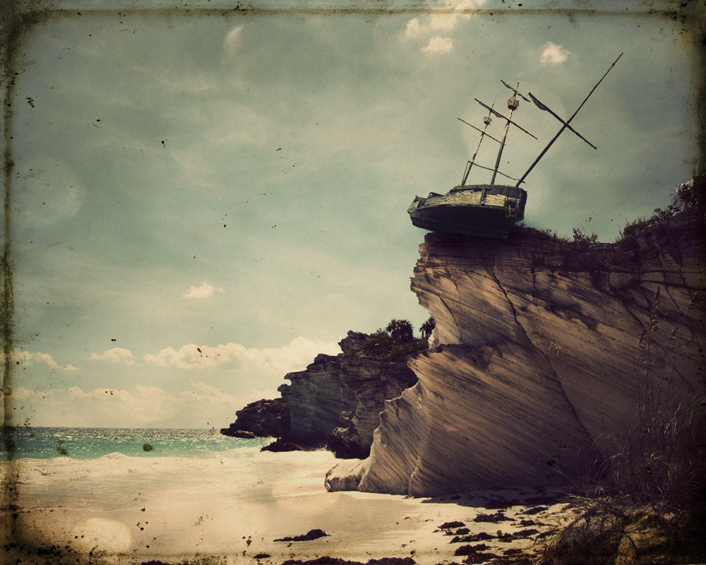 Pirate Ship Decor 11x14 Photo Art Print  photography travel and shipwrecks gift for guys The Edge of the World - TheLonelyPixel