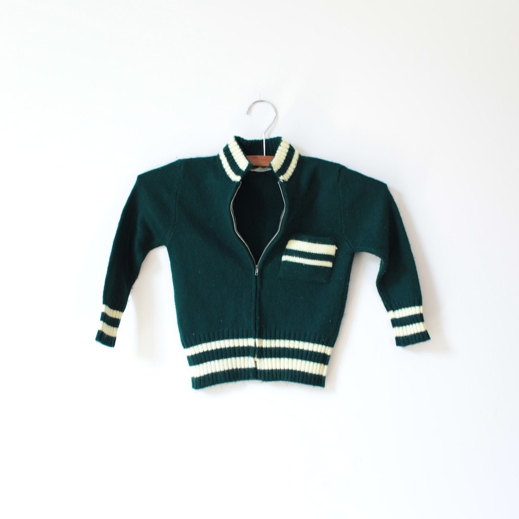 Vintage Dark Green Zipper Sweater (3T) - littlereadervintage