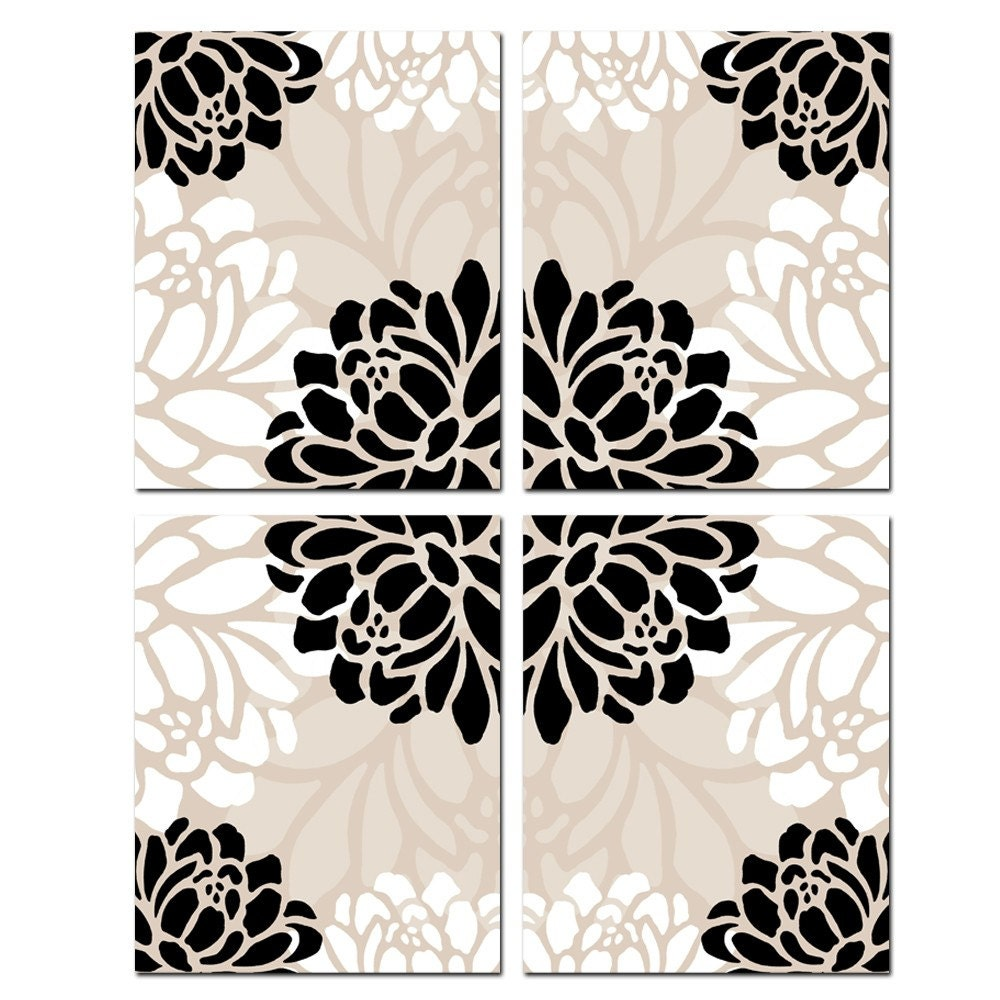 Large Scale Floral Kaleidoscope Quad - Set of Four Original 8 x 10 Coordinating Floral Prints - in Black, White, and Beige