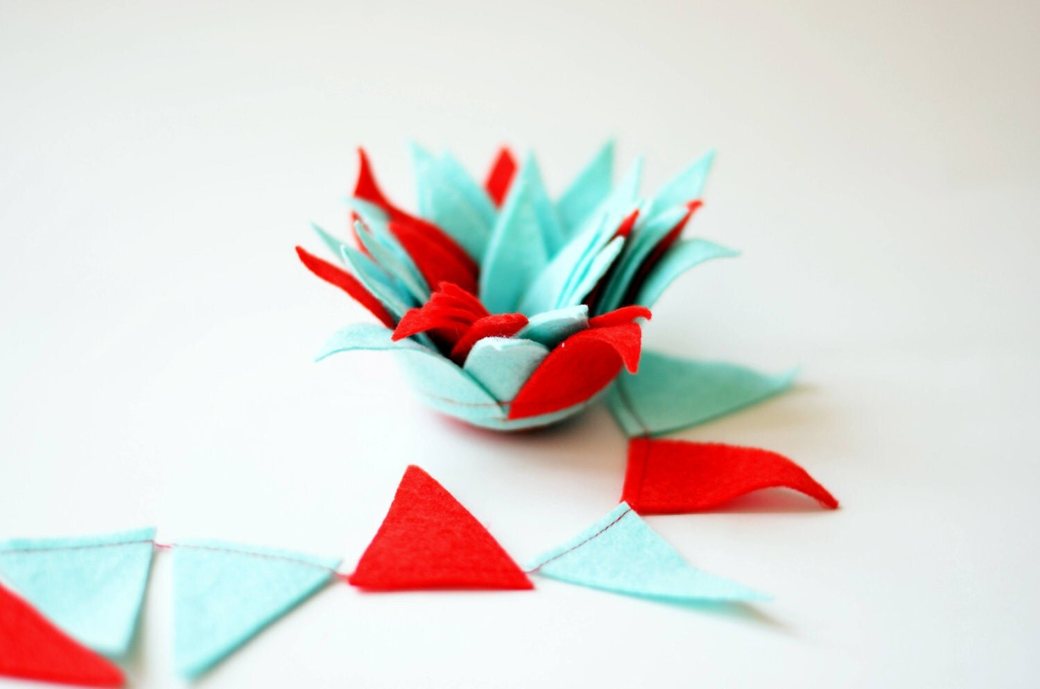 Felt bunting garland, Red and turquoise, Birthday decoration - CoutureByAyca