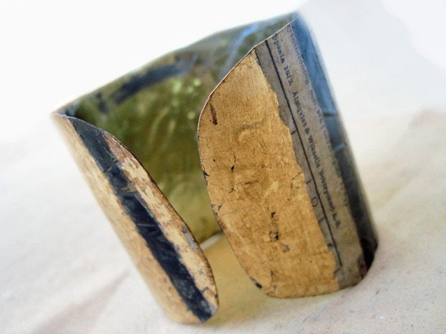 Understanding. Recycled Rustic Tea Tin Cuff Bracelet with Gold Foil.