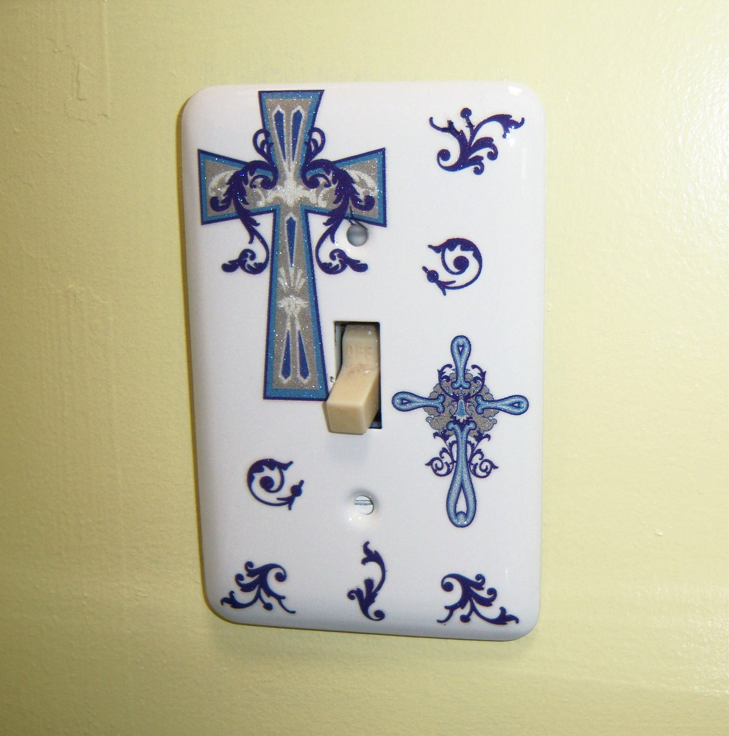 Blue Crosses steel single light switch cover - glittery