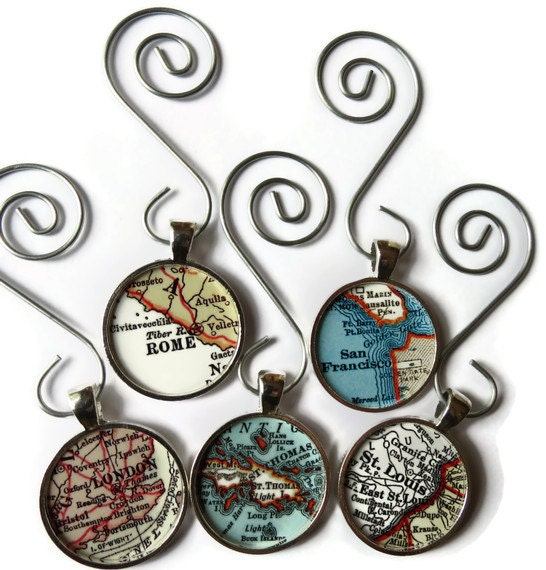 CUSTOM map ornament charms, map ornaments for the holiday personalized with a favorite location - LocationInspirations