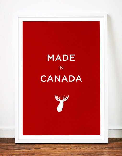 Canada moose poster art print illustration head antlers typography nursery