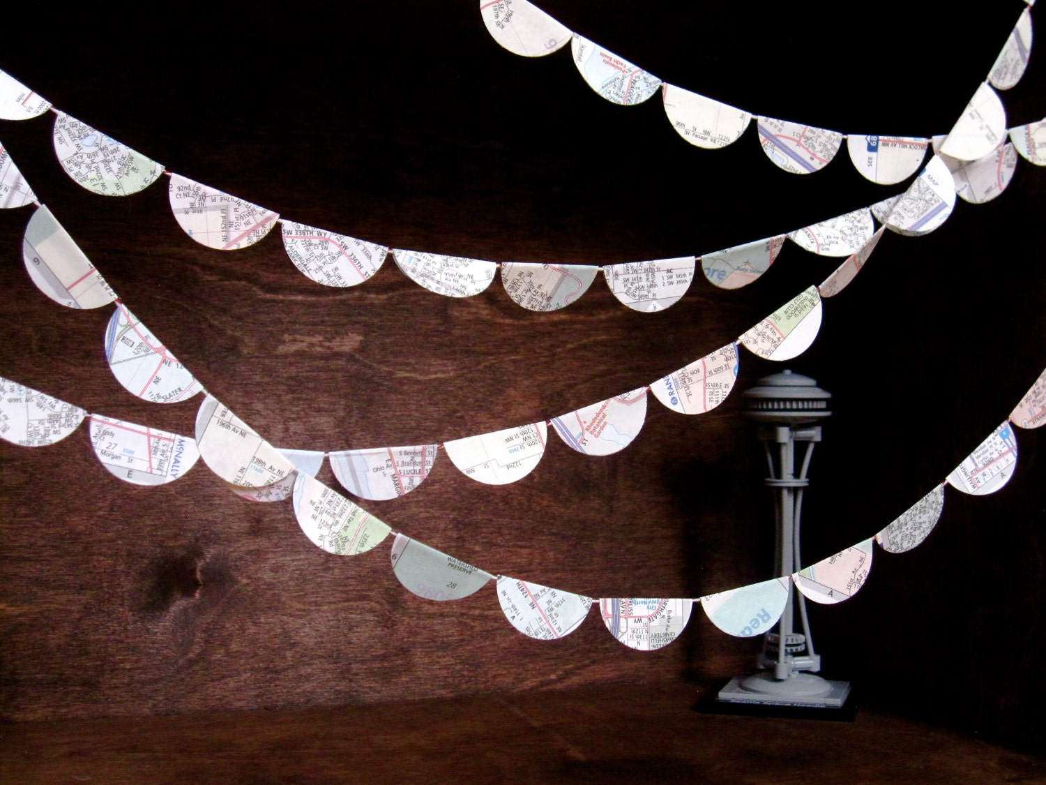 Urban Wanderer Map Garland - Seattle - Ten Feet of Upcycled City Atlas Party Decoration Playful Home Decor - Palimpsestic
