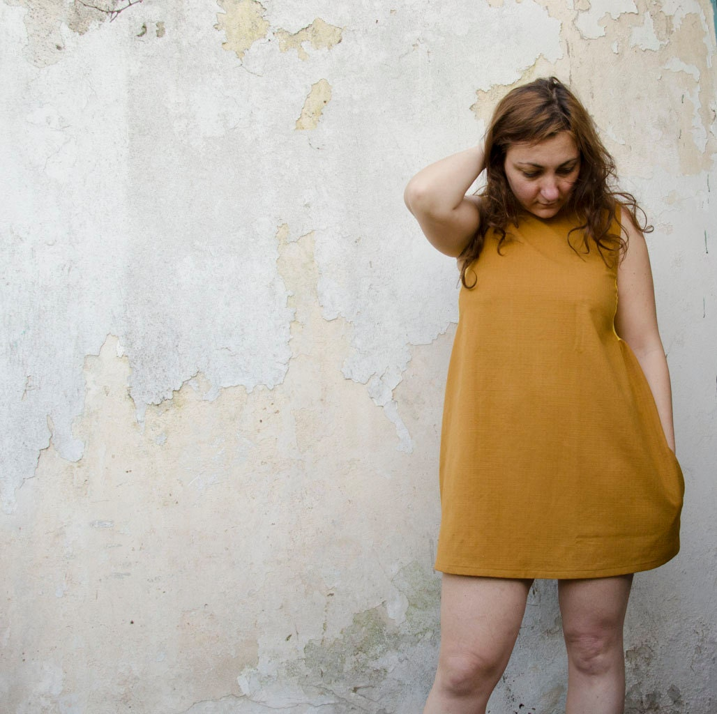 Scoop Back Mini Dress in Mustard and Yellow Lace Insets - karmologyclinic