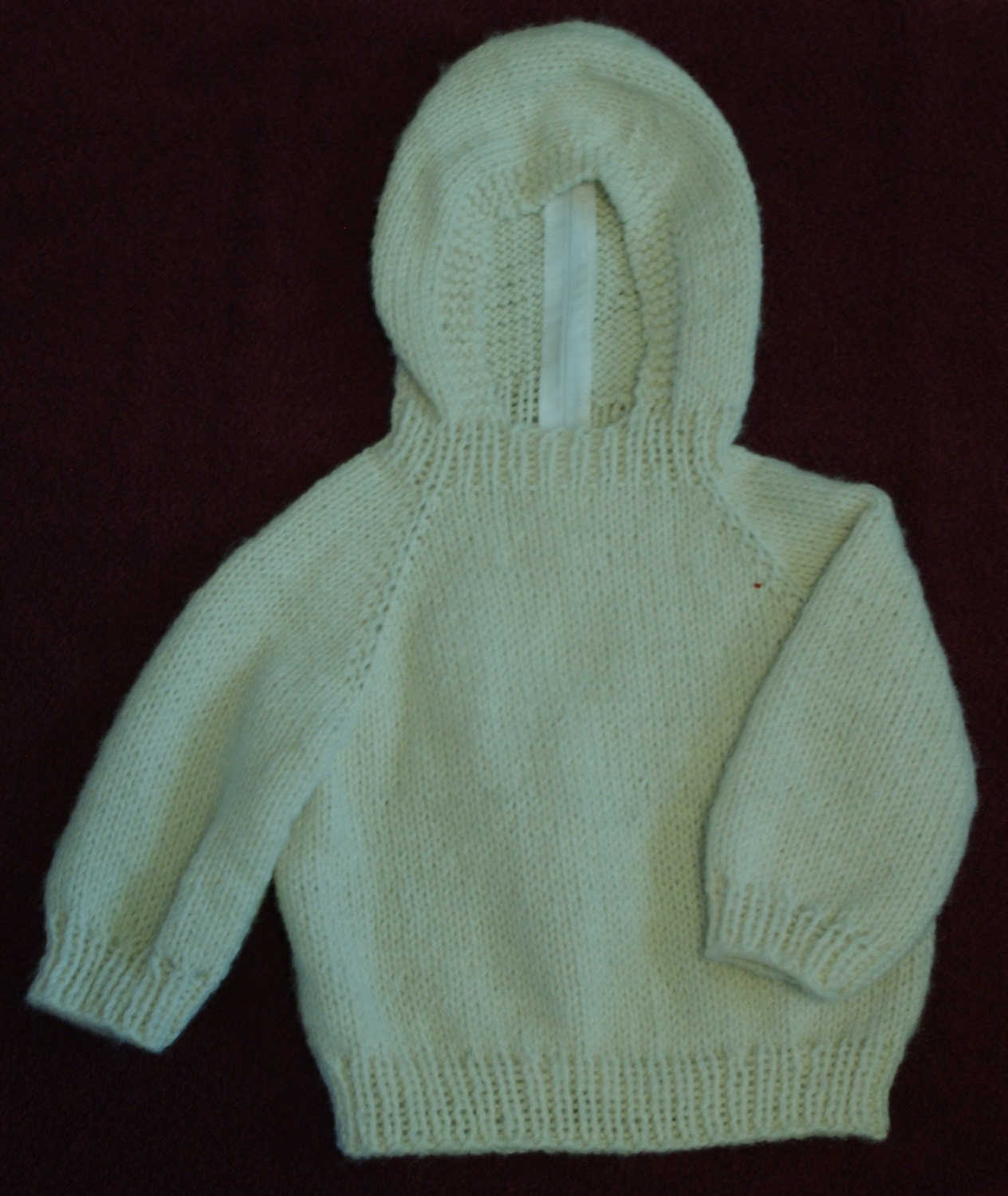 Knitting Pattern For Baby Sweater With Zipper In The Back : Knitted Hooded Baby Sweater with Back Zipper Off by SuzySpecials
