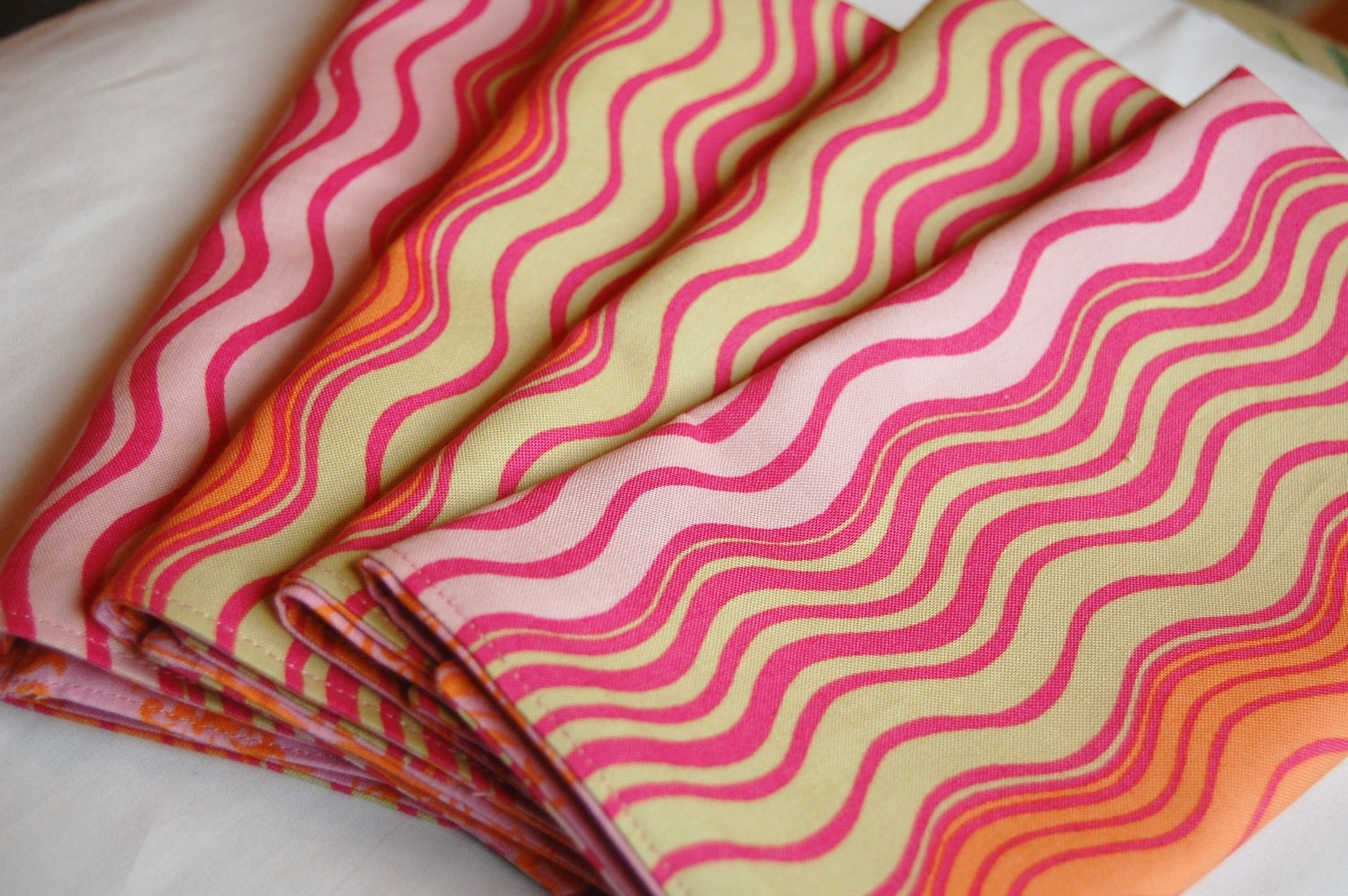 REVERSIBLE Pink Orange Fabric Napkins, Amy Butler Ripple Stripe, Park Fountains, Eco Friendly Cloth, Reusable, Set of 4, Lunch, Dinner