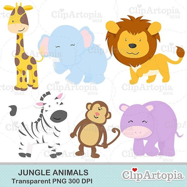 Jungle animals cute jungle Digital Clipart for Invitations, Card ...