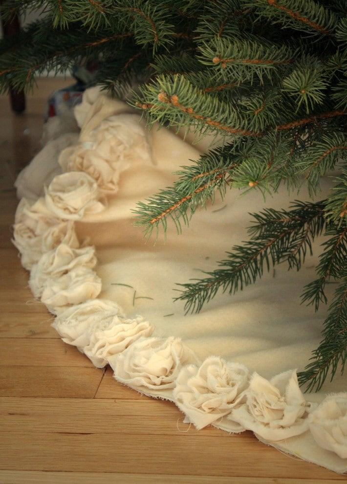 Plush Ivory Christmas Tree Skirt. Eco-Fi Felt. Trimmed in Handmade Flowers. Unique Holiday Decor.