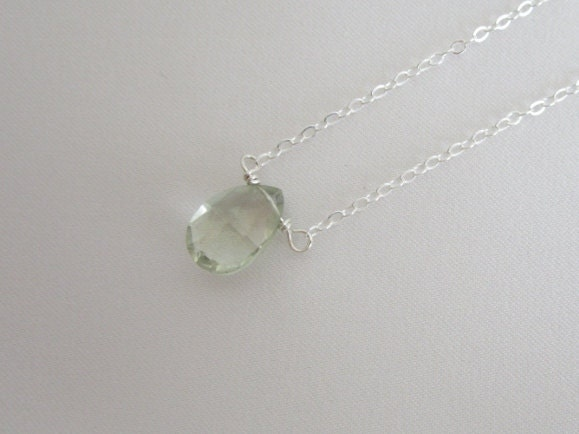 Green Amethyst Necklace. Sterling Silver Jewe ...
