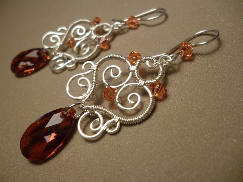 Swarovsky red sweetheart earrings - wire wrapped jewelry - Juditta