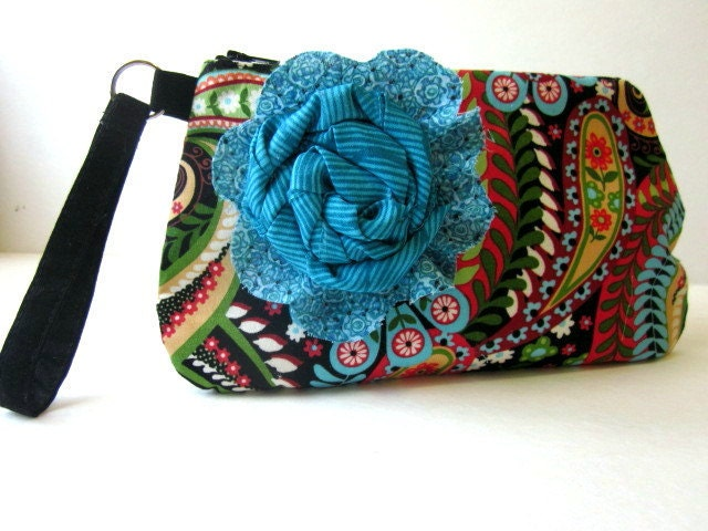 Handmade wristlet Multi-color Paisley turquoise floral brooch