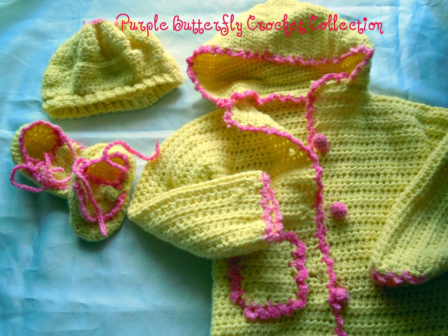 Crocheted Hooded Baby sweater, beret and bootee set