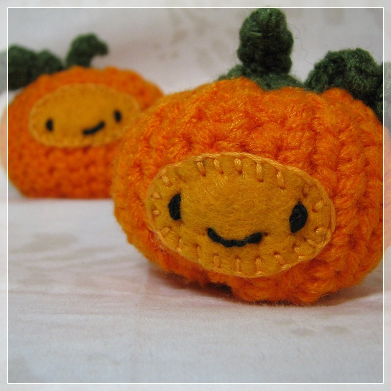 Crochet Pumpkins Halloween Decoration Amigurumi                   Pair of Handmade Chibi Cute Kawaii Set 1