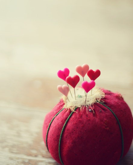Sewing hearts photograph-love, whimsical, valentines day, red, pink, pins, fine art photo 8x10 print, - dullbluelight