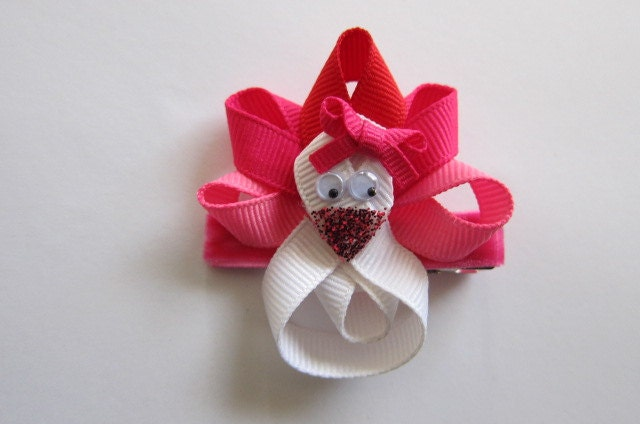 Valentine's LoveBird Clip in Shades of Red, Pink and White.  READY TO SHIP.