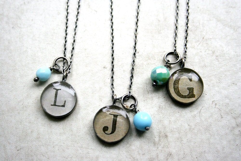 bridesmaids monogram necklace package - vintage blues