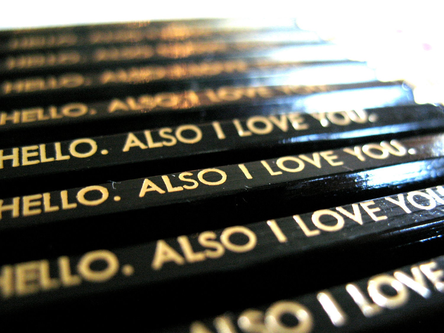 VALENTINE PENCILS (6) - Hello. Also I love you - black and gold GRAPHITE hex pencils w/ stamped craft pencil case