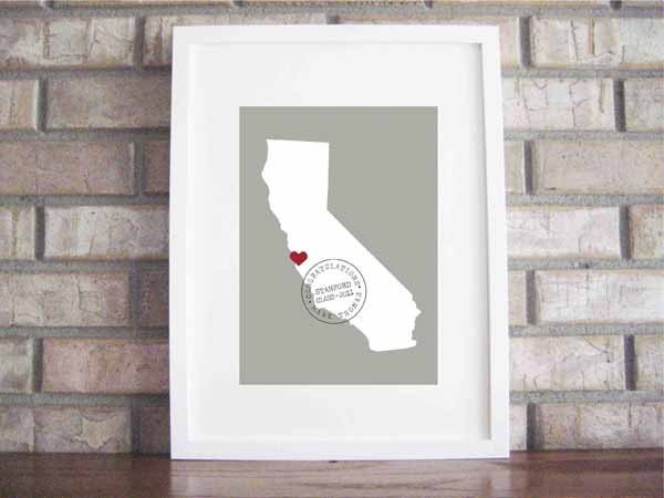 Custom Baby or Graduation Map and Stamp 8x10