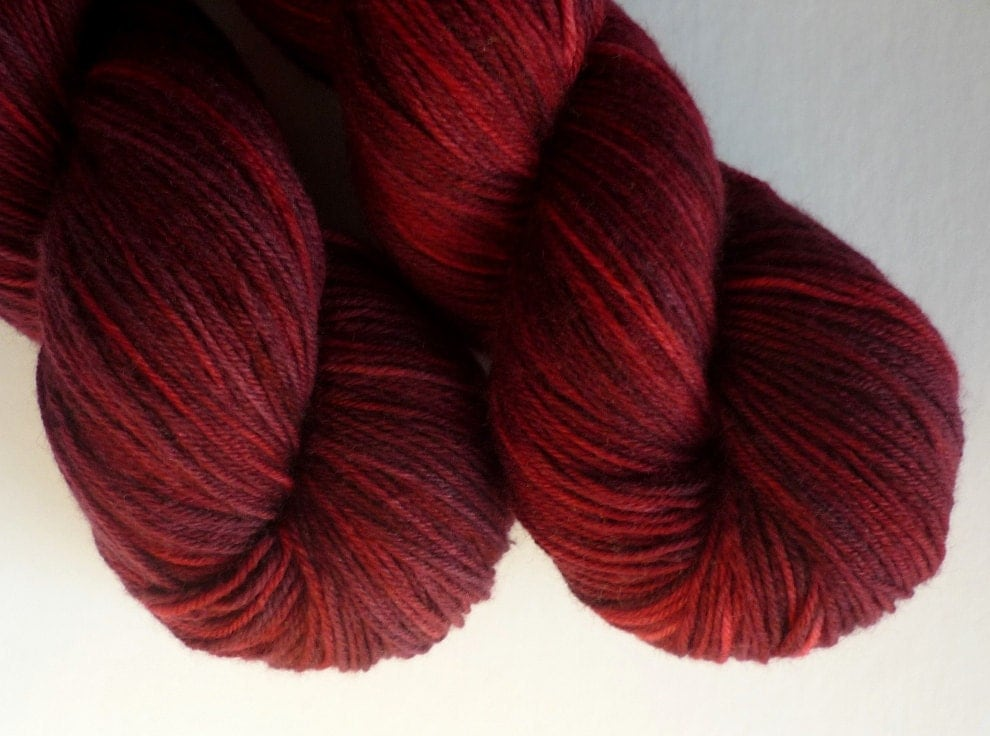 Hand Dyed MCN Sock Yarn - Phat Fiber - Merino / Cashmere / Nylon Fingering Weight in Cranberry Bog Colorway - WanderingWool