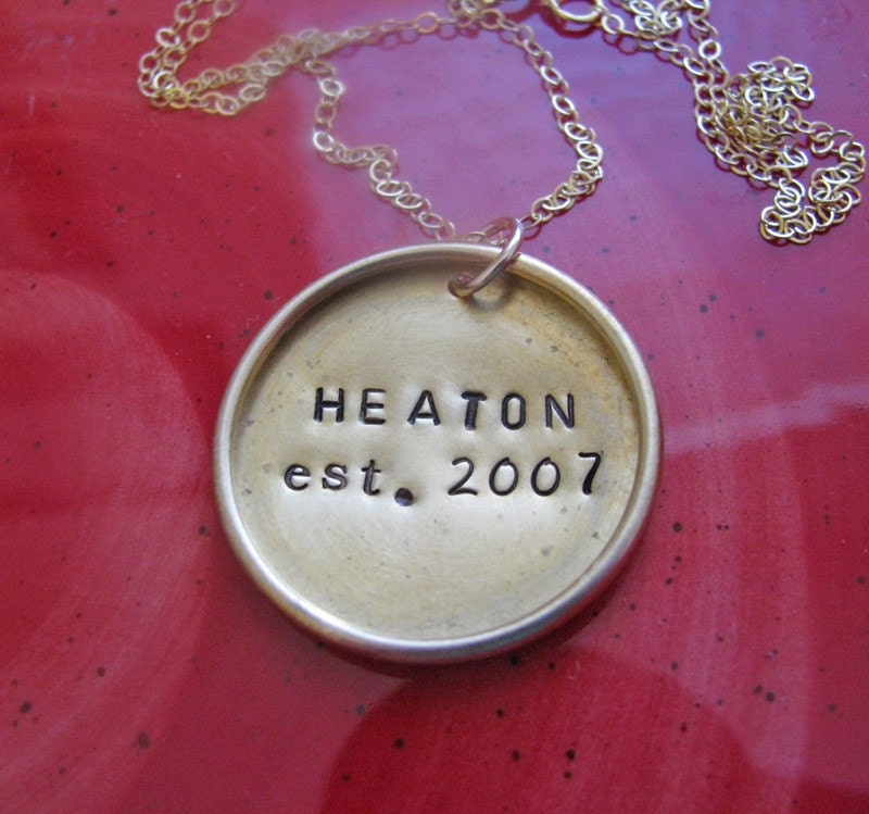 custom hand stamped antique brass raised rim necklace