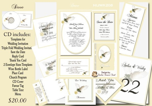 Delux Dove in Flight Wedding Invitation Templates on CD