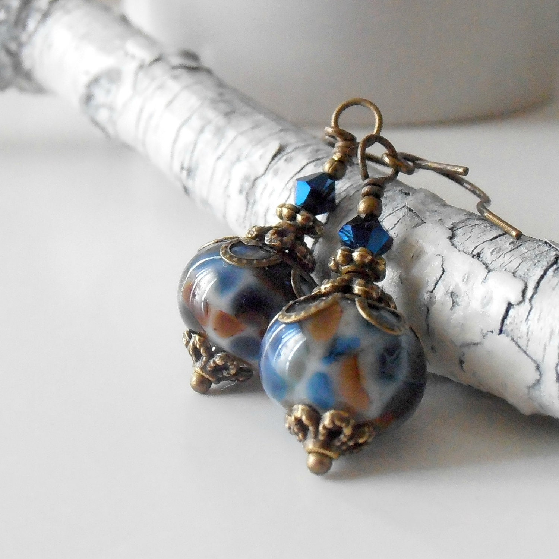 handmade beaded jewelry lwork earrings vintage by