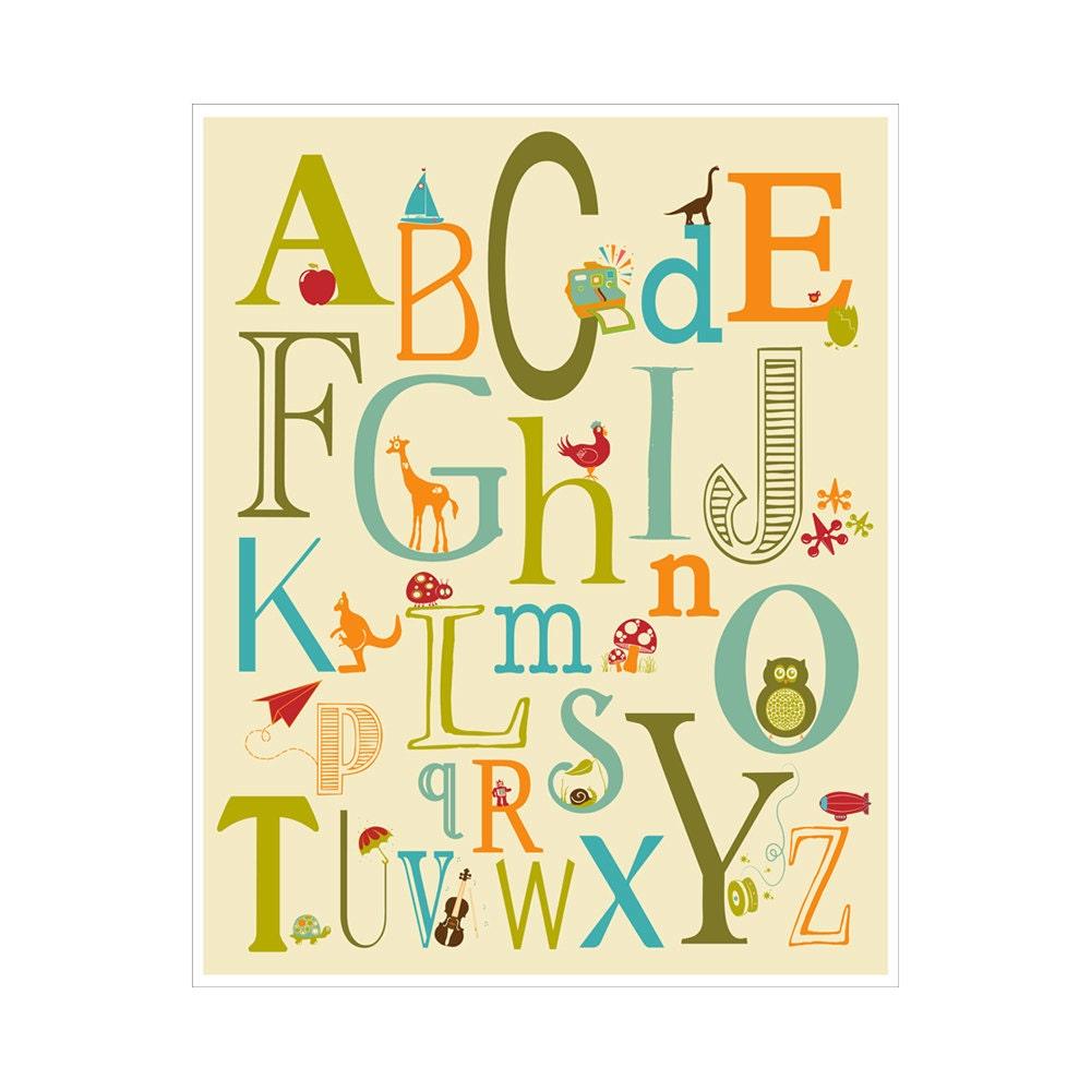 Alphabet Poster - ABC alphabet typography 11x14  inch Poster Print - KZukowski