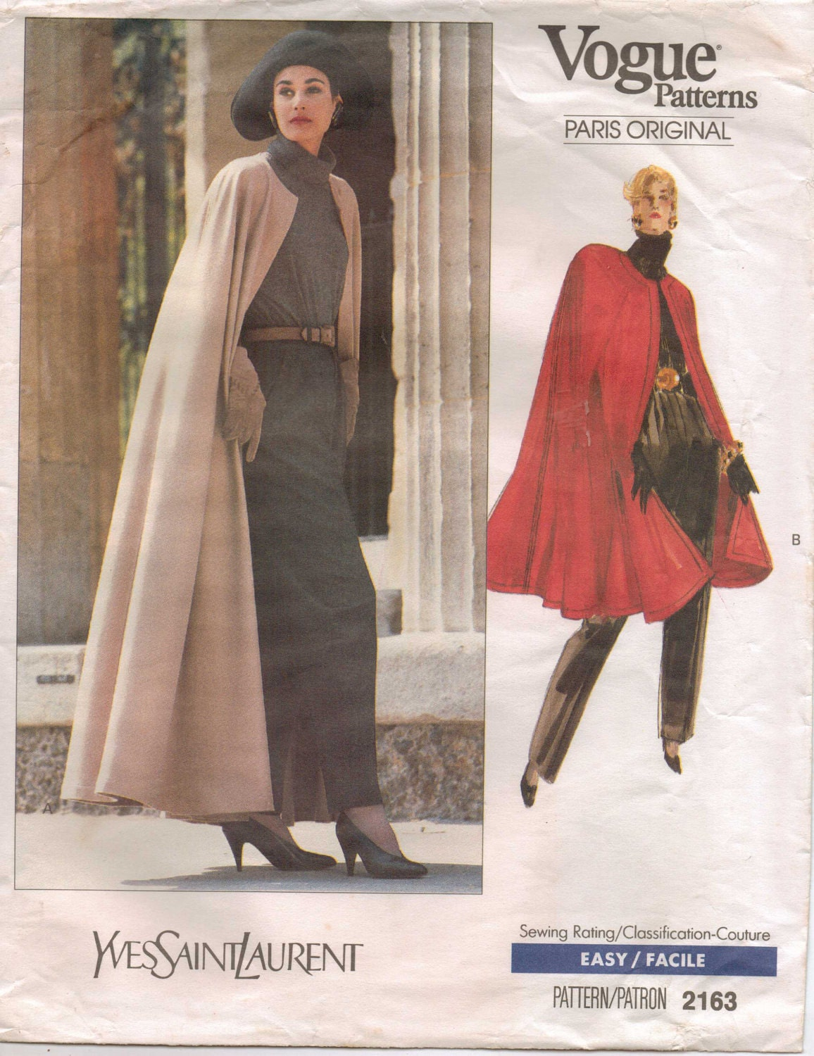 Late 1980s cape by Yves Saint Laurent, Vogue 2163
