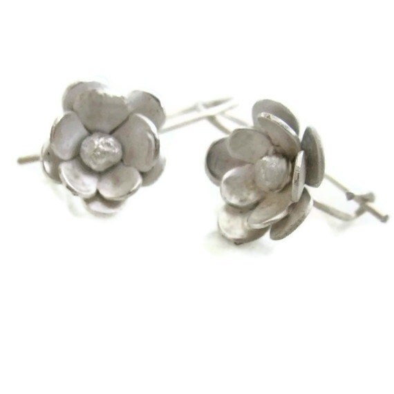 Silver Cherry  Blossom  Earrings Sterling Floral  Drops  Silver Wires - sheriberyl