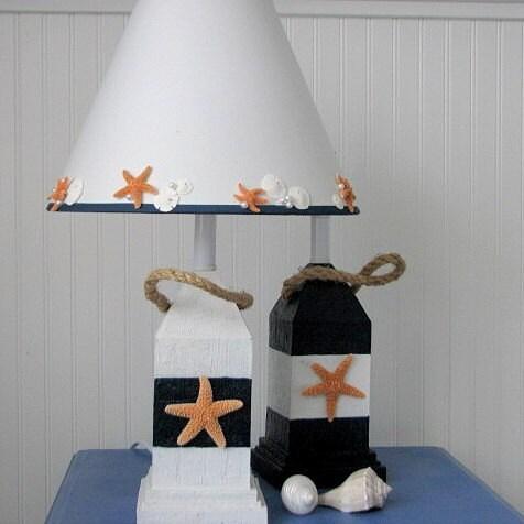Пляж Декор Буй лампы - Морской Декор Буй лампы со Starfish абажур, Синий