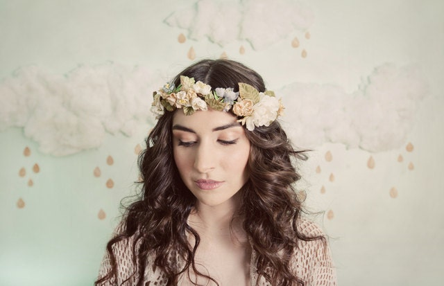 Romantic flower crown in ivory, yellow, blue and beige