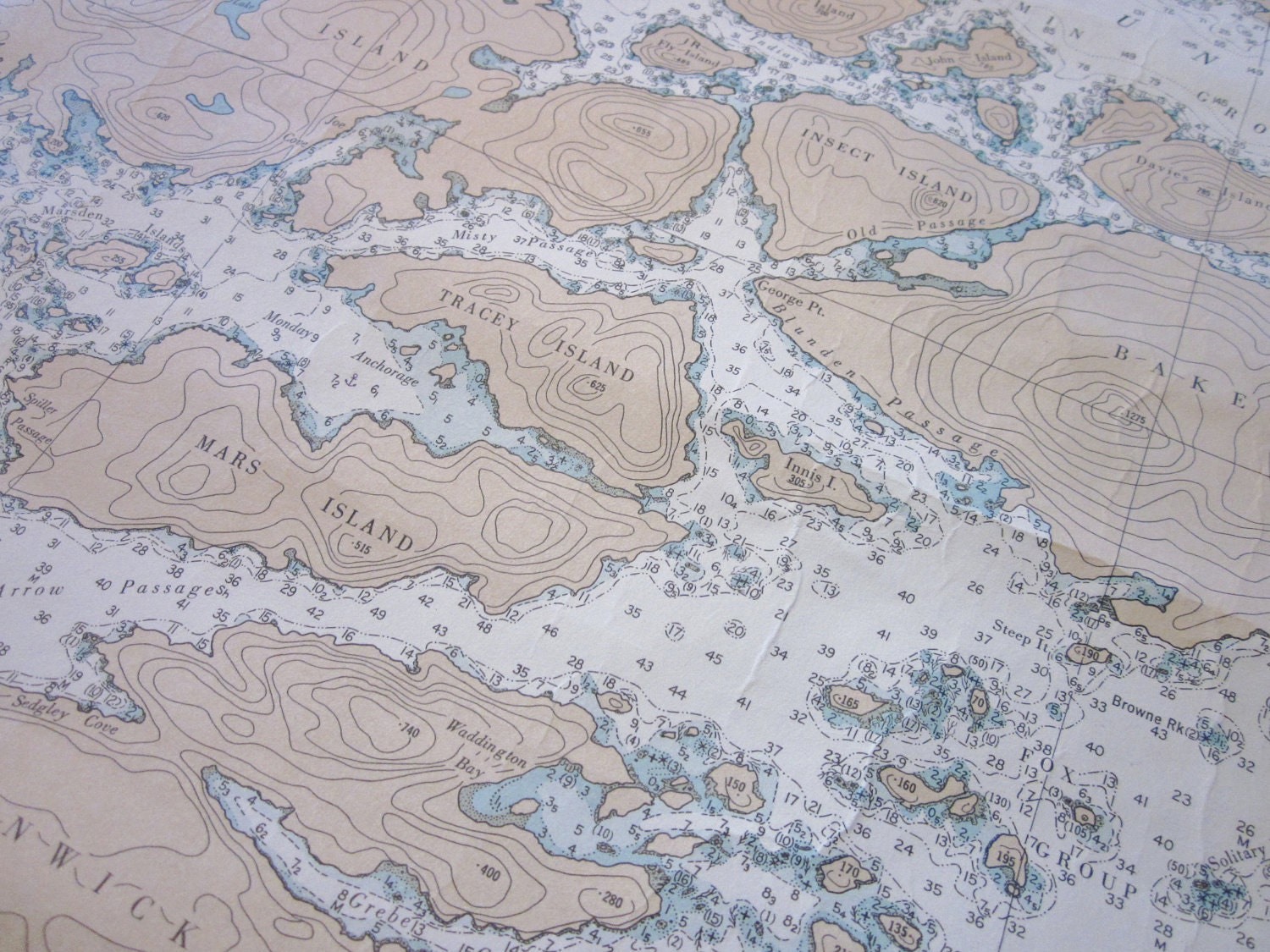 Vintage Large Nautical map chart of Canada British Columbia Fife Sound and Kingcome Inlet