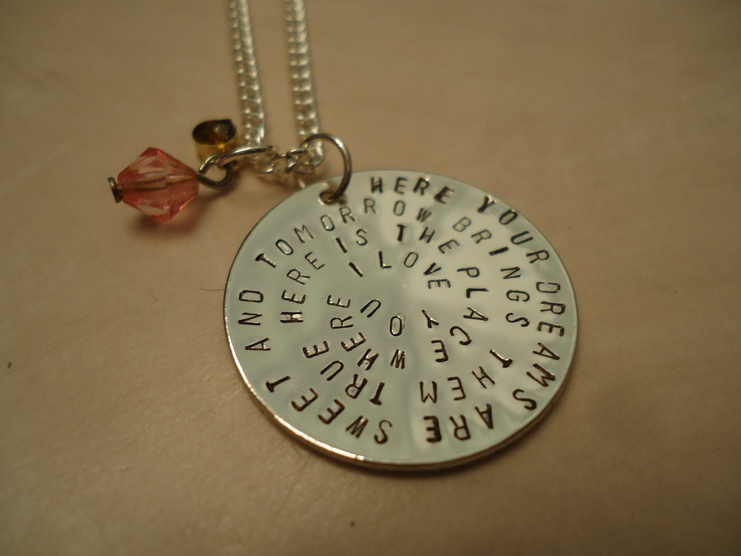 The Hunger Games Inspired Geekery  -  Rue's Lullaby Hand Stamped Silver Necklace With Charms  - FREE SHIPPING