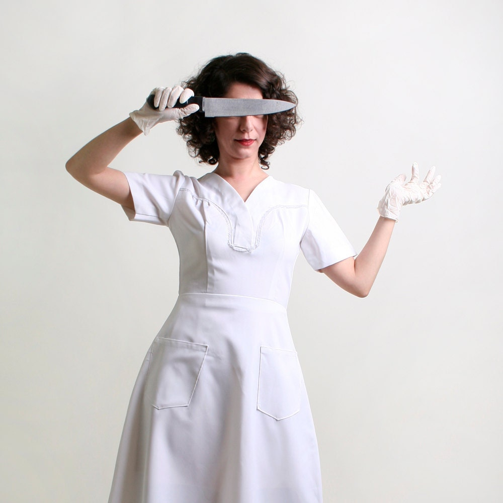 Vintage Nurse Dress - Pure White Medical Style A-Line Dress - Small