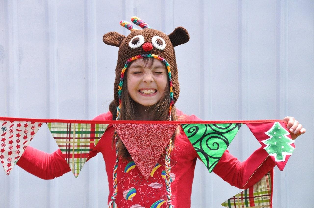 Christmas Hat, Rudulph Reindeer Crochet Hat ,Christmas, Animal,