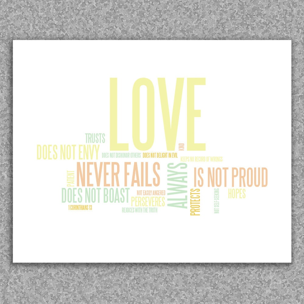 Wall art print - Love is patient, love is kind: 1 Corinthians 13 giclee art print 8x10 poster - RedLetterPaperCo