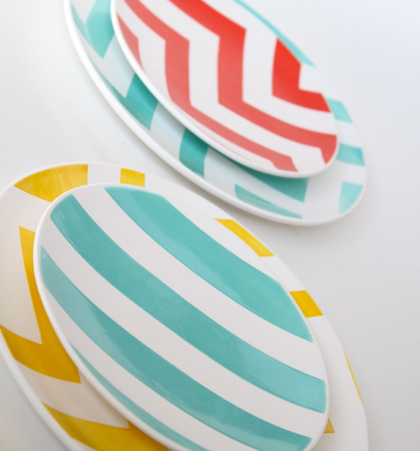 As Seen at 100 Layer Cake- Set of Two Chevron Salad Plates- Spring Fling Aedriel Originals Dinnerware Collection