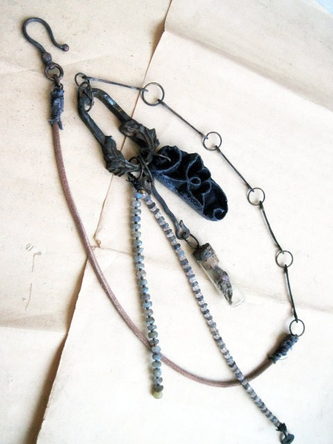 Zanzibar. Long Tribal Metaphysical Statement Necklace Assemblage.