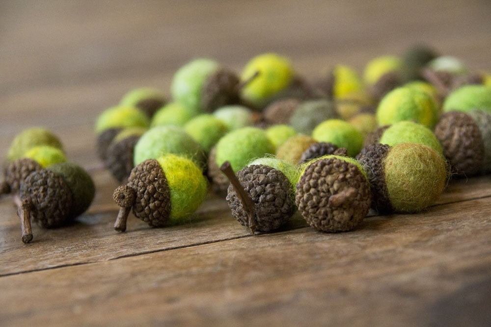 Set of 12 SHADES OF GREEN Wool Felted Acorns - leboxboutique