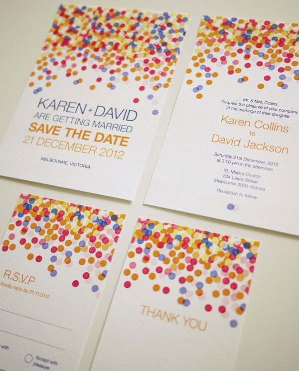 Colorful Confetti - Modern Wedding Invitation Suite (PRINTABLE) - Set of 4