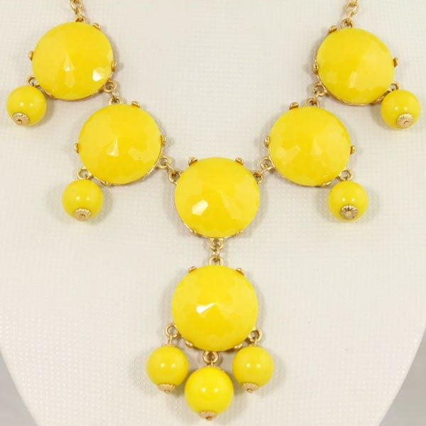NEW Yellow Faceted  6 Stone Bubble Necklace,Handmade Bib Necklace,Statement Necklace-BN088