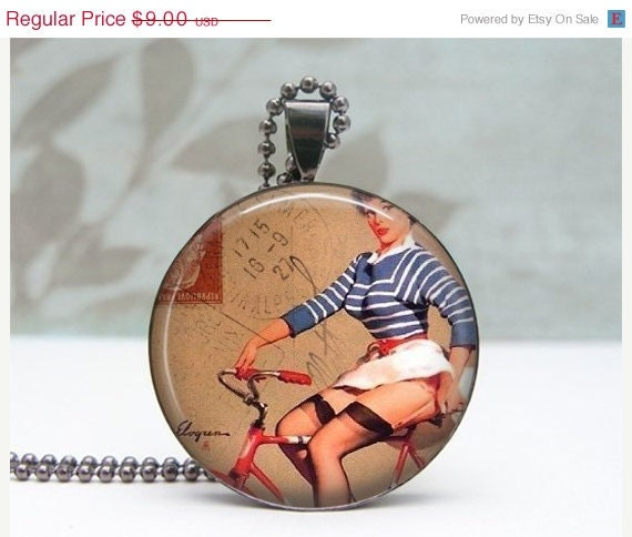 SALE Pinup Bike Rider Pendant Glass Dome Art Pendant Gunmetal Picture Pendant Photo Pendant Wearable Art by Lizabettas
