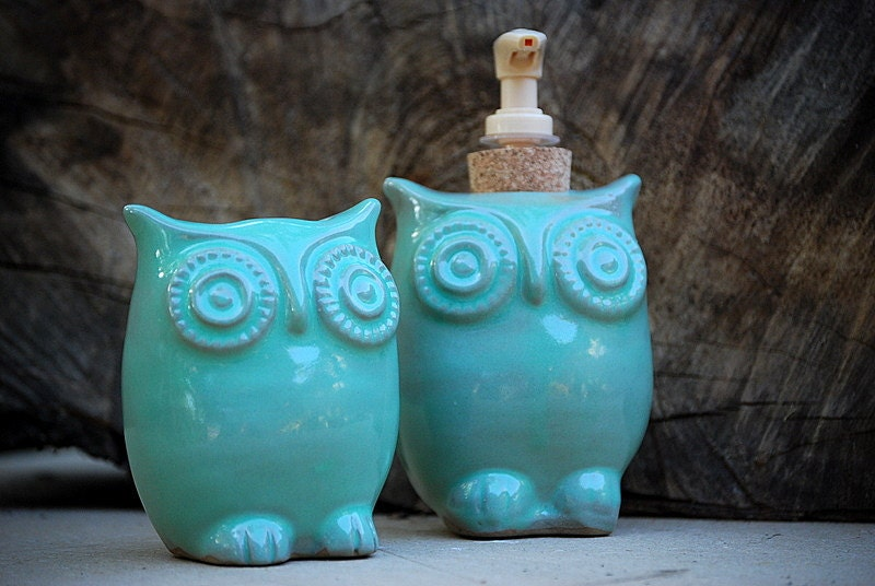 ceramic owl soap dispenser and tooth brush caddy in mint - MADE TO ORDER