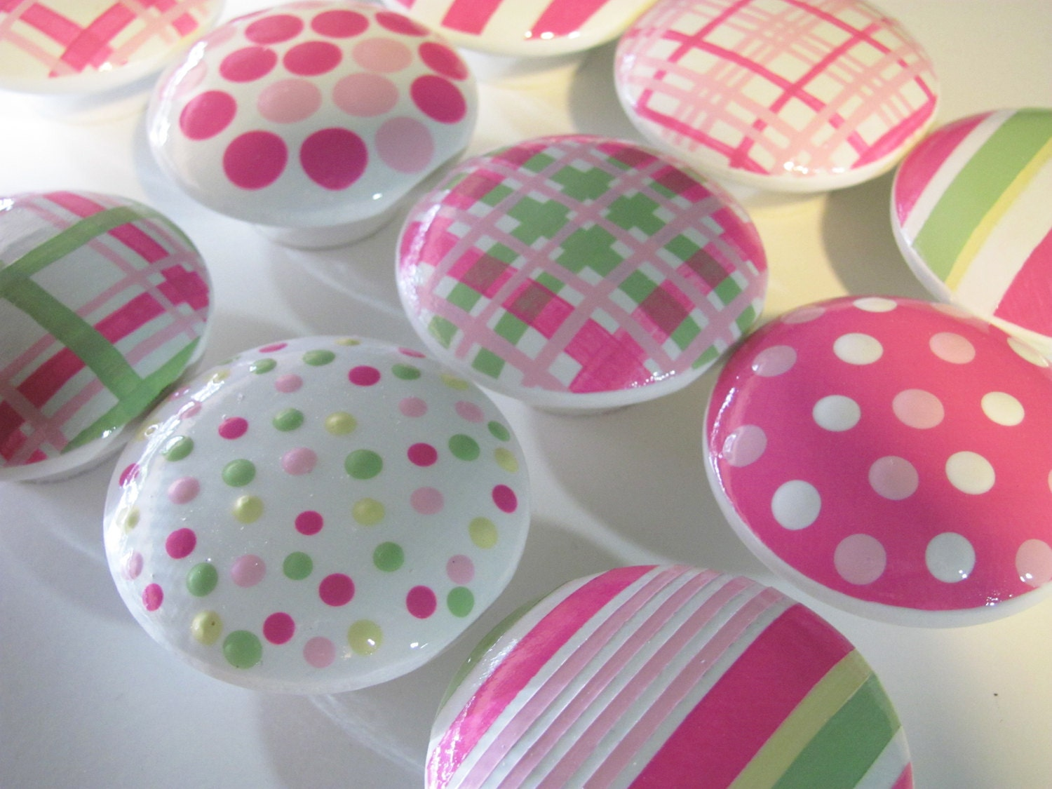 Kid Knobs- Children's Drawer Knobs- Hand Painted Wood Knobs - Stripes, Polka Dot and Plaid Knobs Pink and Green - Size 2 inches-SET OF 12