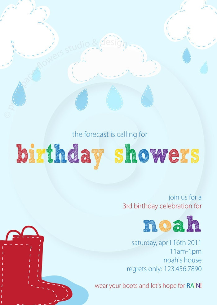 April Showers Party Collection - Invitation - P.I.Y. (print-it-yourself)