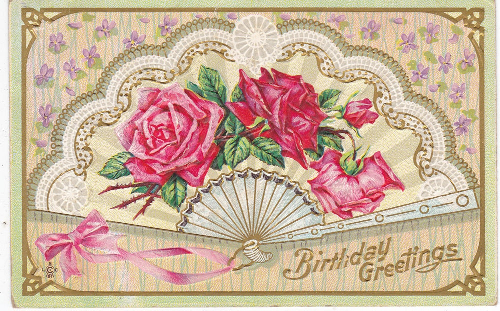 Antique Birthday Postcard Used Embossed Early 1900s (fpc272)